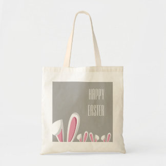 Pink Easter Bunny Ears on Grey , Happy Easter Tote