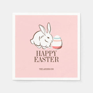 Pink Easter Bunny & Egg Happy Easter Paper Napkins Disposable Napkin