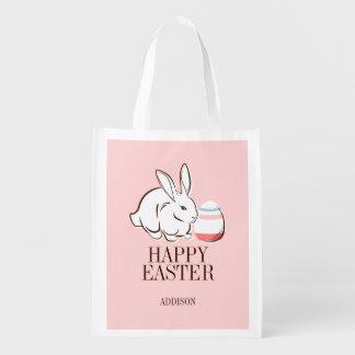 Pink Easter Bunny & Egg Happy Easter Reusable Bag