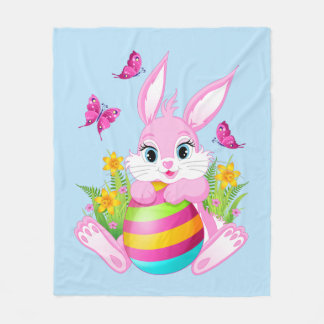 Pink Easter Bunny Fleece Blanket
