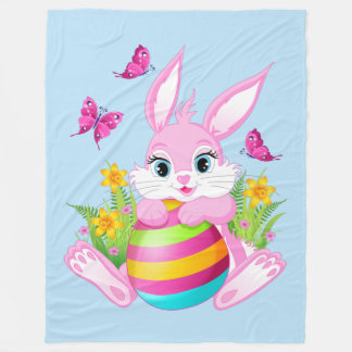 Pink Easter Bunny Large Fleece Blanket