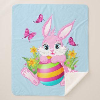 Pink Easter Bunny Medium Sherpa Fleece Blanket