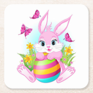 Pink Easter Bunny Paper Coaster Square Paper Coaster