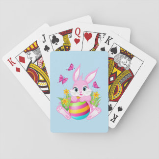 Pink Easter Bunny Playing Cards