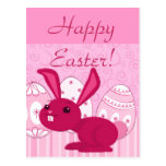 Pink Easter Bunny Postcard