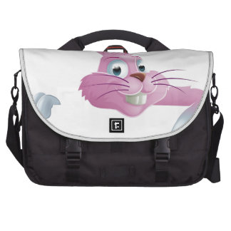 Pink Easter bunny rabbit top pointing Laptop Commuter Bag