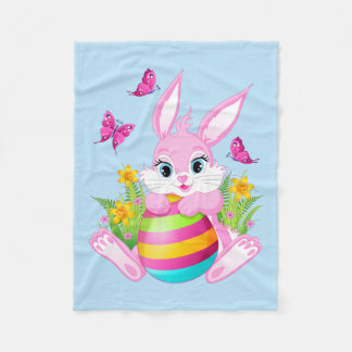 Pink Easter Bunny Small Fleece Blanket