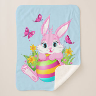 Pink Easter Bunny Small Sherpa Fleece Blanket