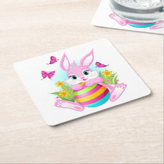 Pink Easter Bunny Square Paper Coaster