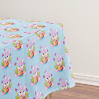 Pink Easter Bunny Tablecloth