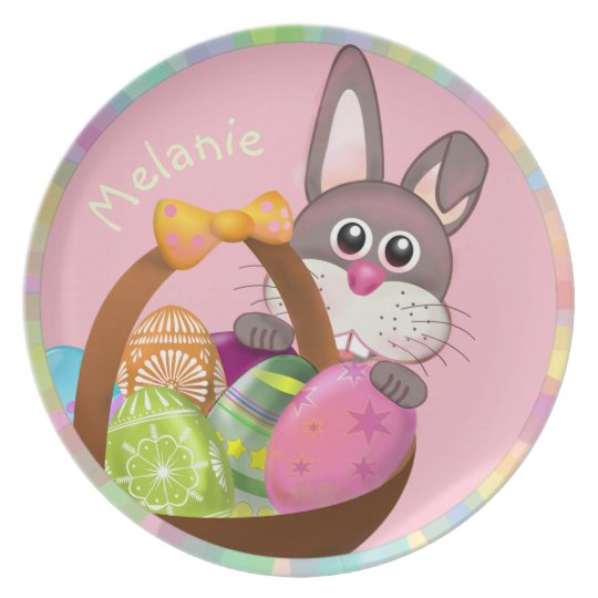 PINK EASTER BUNNY WITH EGG BASKET, GIRLY PLATE