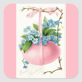 Pink Easter Egg and Flowers Square Sticker