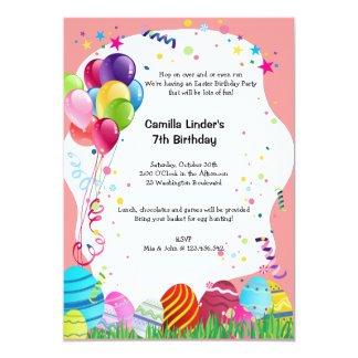 Pink Easter Sunday Birthday Party Invites