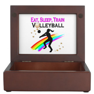 PINK EAT, SLEEP, TRAIN VOLLEYBALL KEEPSAKE BOXES