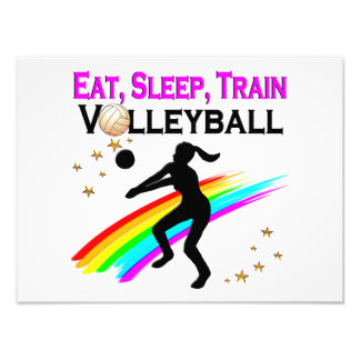 PINK EAT, SLEEP, TRAIN VOLLEYBALL PHOTOGRAPHIC PRINT