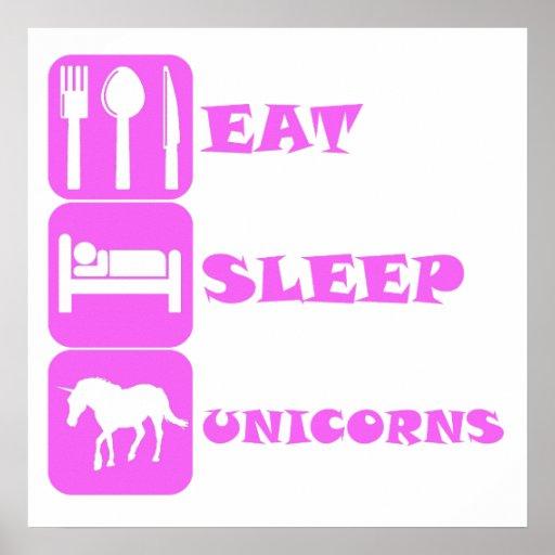Pink Eat Sleep Unicorns Poster