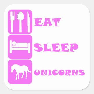 Pink Eat Sleep Unicorns Stickers
