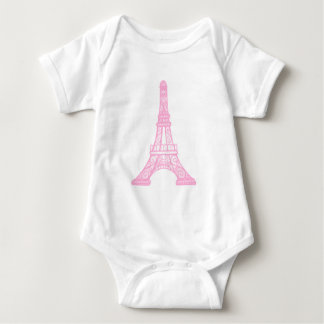Pink Eiffel Tower Baby Bodysuit