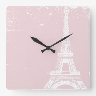 Pink Eiffel Tower Custom Wall Clock