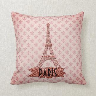 Pink Eiffel Tower Paris Fleur De Lis Pattern Cushion