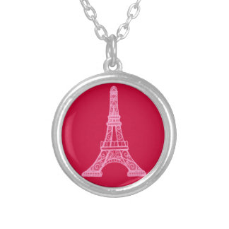 Pink Eiffel Tower Silver Plated Necklace