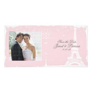 Pink Eiffel Tower Wedding Announcement Photo Cards