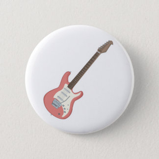 pink electric guitar 6 cm round badge