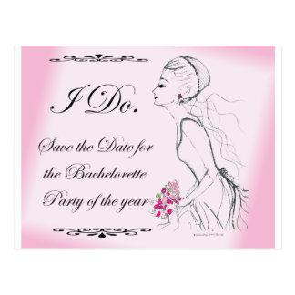 Pink elegant Bachelorette Party Design Post Cards