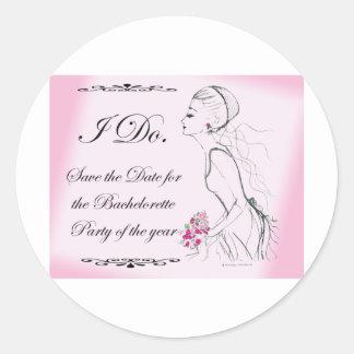 Pink elegant Bachelorette Party Design Round Sticker