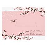 Pink Elegant Cherry Blossom Wedding Response RSVP Personalized Announcements