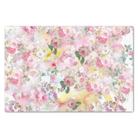 Pink elegant watercolor roses flowers pattern tissue paper