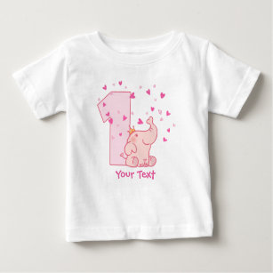 Pink Elephant 1st Birthday Customize Baby T Shirt