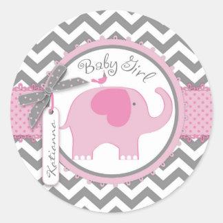 Pink Elephant and Chevron Print Baby Shower Round Sticker