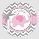 Pink Elephant and Chevron Print Baby Shower Round Sticker
