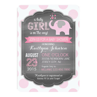 Pink Elephant and Dots Baby Shower Invitations