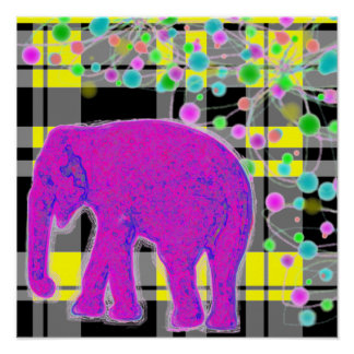 Pink Elephant and Plaid Poster
