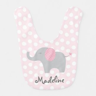 Pink Elephant Baby Bib
