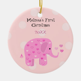 Pink Elephant Baby First Christmas Round Ceramic Decoration
