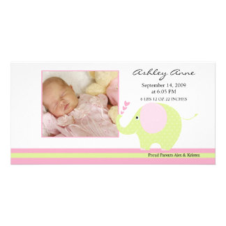 Pink Elephant Baby Girl Birth Annoucement Photo Card Template