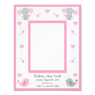 Pink Elephant Baby Girl Birth Stats Picture Frame Photo Print