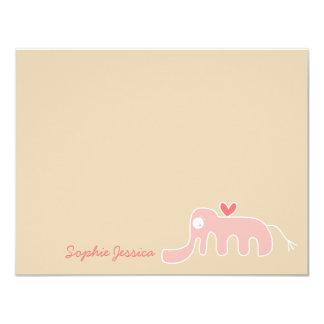 Pink Elephant Baby Girl Custom Thank You Card 11 Cm X 14 Cm Invitation Card