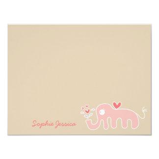 Pink Elephant Baby Girl Shower Thank You Card 11 Cm X 14 Cm Invitation Card