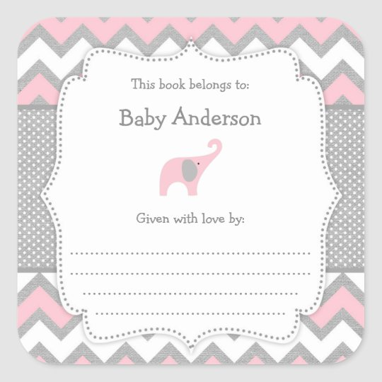 Pink Elephant Baby Shower bookplate book sticker