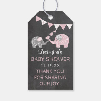 Pink Elephant Baby Shower Chalk Look Thank You Gift Tags