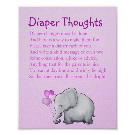 Pink Elephant Baby Shower Diaper Thoughts Game Poster