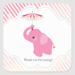 Pink Elephant Baby Shower Favour Sticker