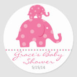 Pink Elephant Baby Shower Favour Stickers