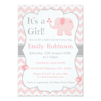 Pink Elephant Baby Shower Invitation - Girl