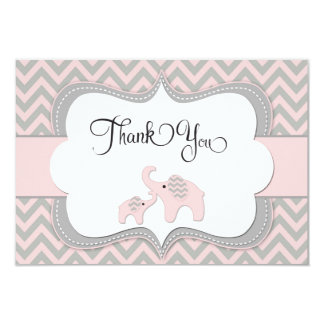 Pink Elephant Baby Shower Thank You Card 9 Cm X 13 Cm Invitation Card