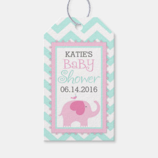 Pink Elephant Bird Chevron Baby Shower Gift Tags